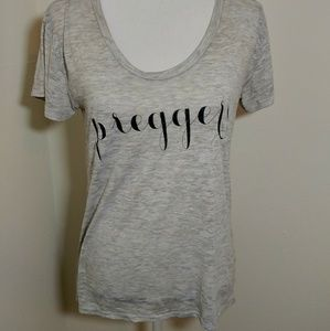 Preggers Gray Burn Out  Graphic Tee Size M